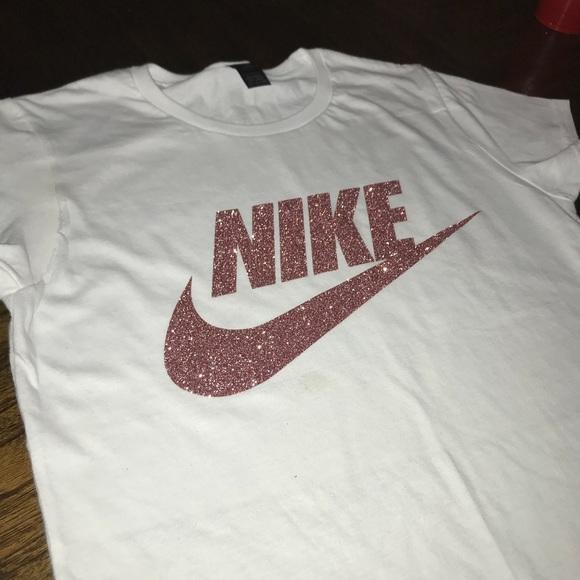 ea67c7963 Nike Tops | Sparkly Rose Gold Shirt | Poshmark